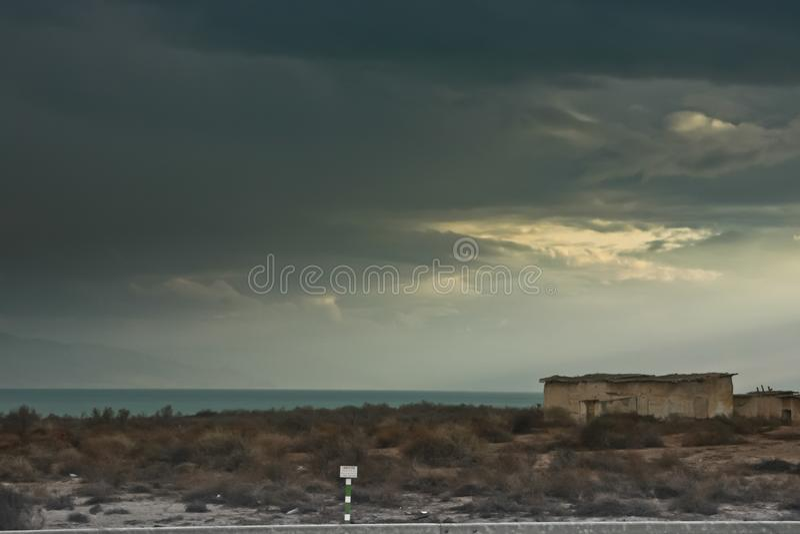 约旦河西岸,边界区域在以色列和约旦之间 库存图片
