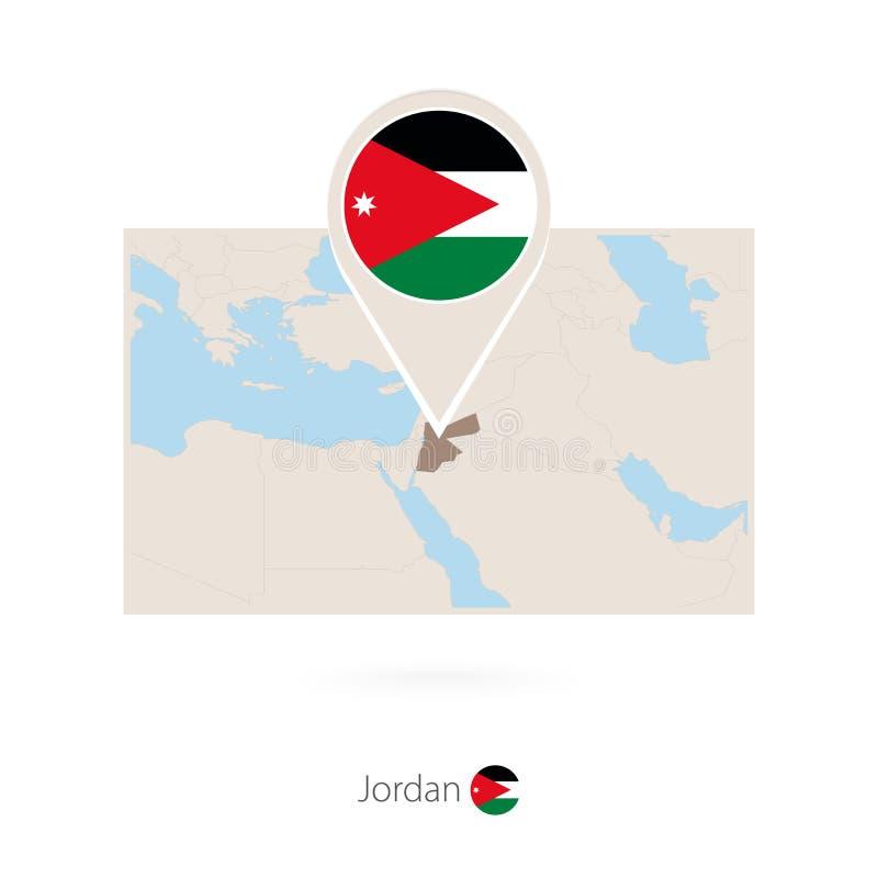 约旦的长方形地图有约旦的别针象的 库存例证
