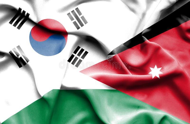 约旦,并且,韩国,韩国的挥动的旗子旗子,韩国旗子,韩国 皇族释放例证