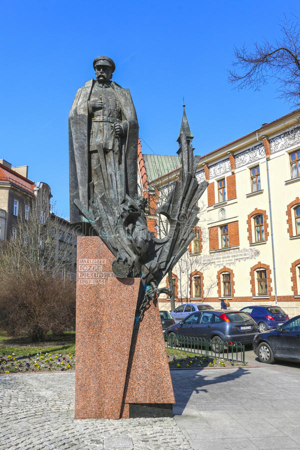 约瑟夫Pilsudski,克拉科夫,波兰的纪念碑 免版税图库摄影