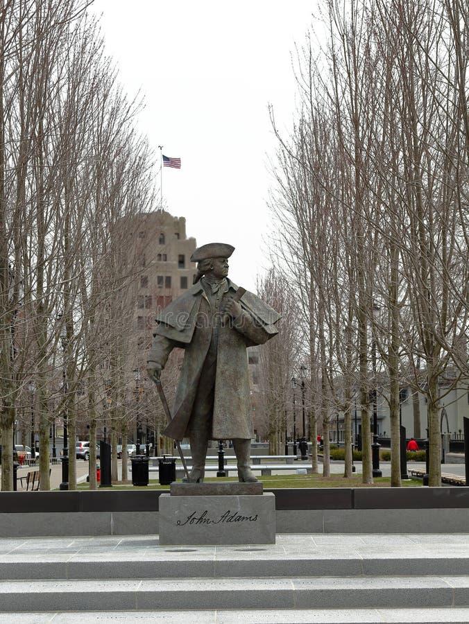 约翰・亚当斯总统雕象在昆西中心 免版税库存图片