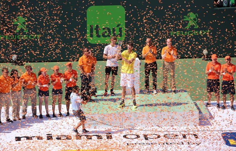 约翰・伊斯内尔在中获胜迈阿密开放决赛 免版税图库摄影