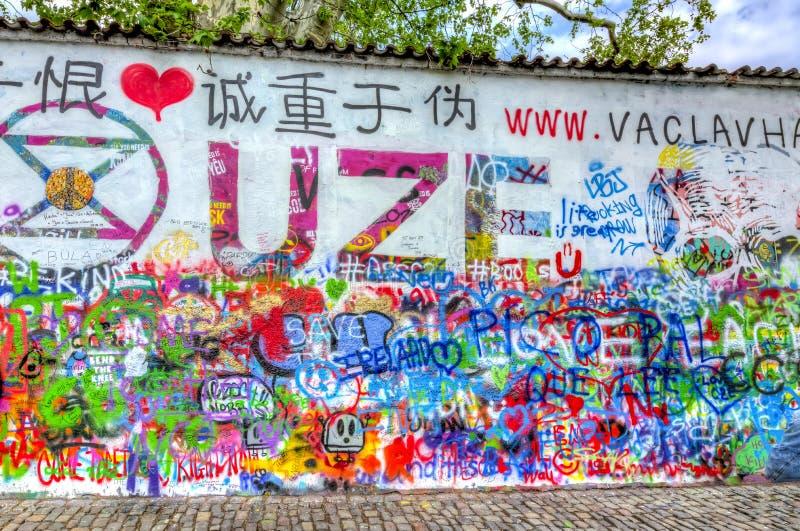 约翰・列侬壁画,布拉格,捷克 免版税图库摄影