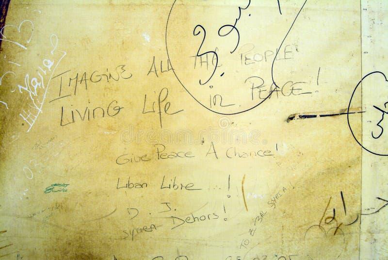 约翰・列侬用于街道画的` s词抗议反对叙利亚 库存照片