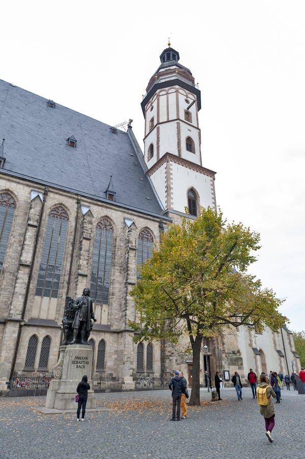约翰・塞巴斯蒂安・巴赫,举世闻名的音乐作曲家雕象,圣托马斯教会的在莱比锡,德国 库存照片