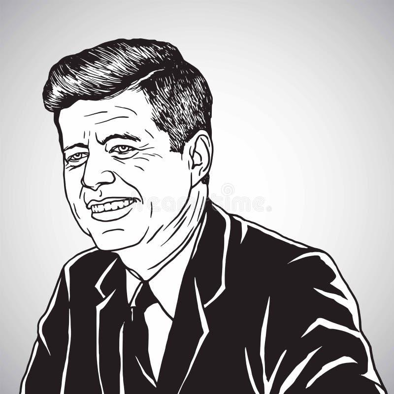 约翰・肯尼迪JFK画象 手拉的动画片讽刺画传染媒介例证 2017年10月31日 库存例证