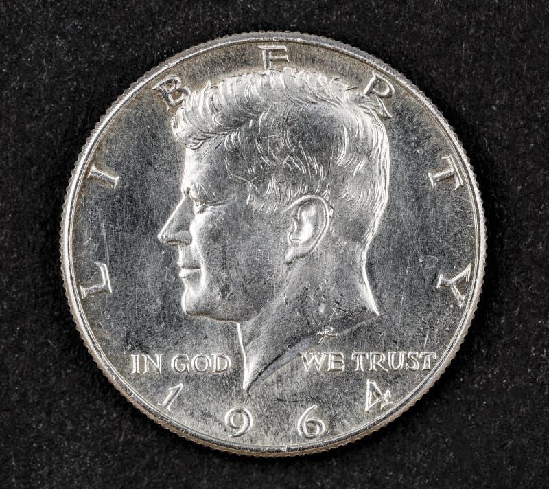 约翰・菲茨杰拉德・肯尼迪银色半元硬币  库存照片