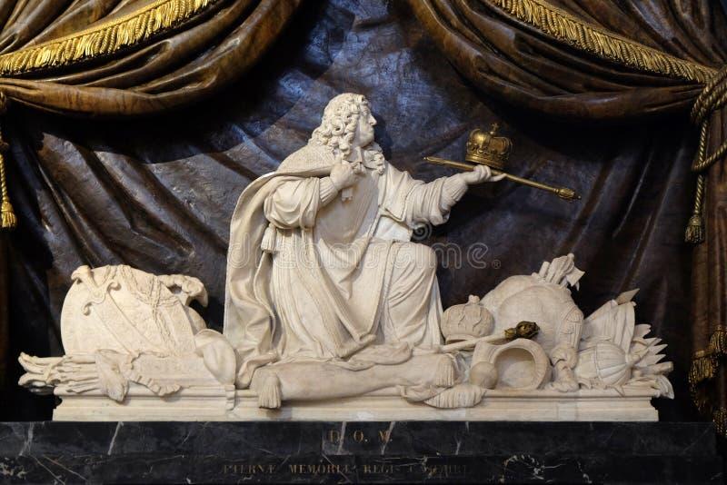 约翰二世卡齐米,波兰的国王陵墓的大理石雕塑  库存图片