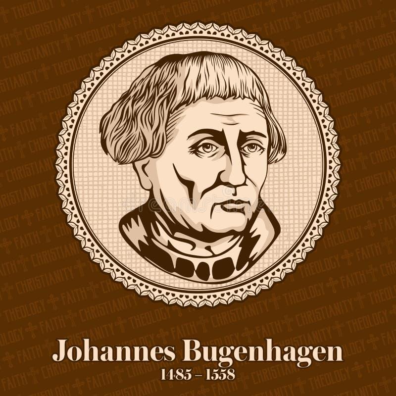 约翰尼斯Bugenhagen 1485-1558,由马丁・路德也叫Pomeranus医生,介绍了新教徒改革 向量例证