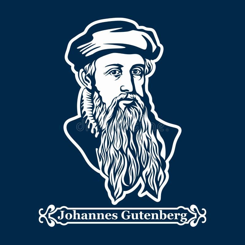 约翰尼斯Gutenberg 第一台打印机,第一部欧洲圣经的出版者 向量例证