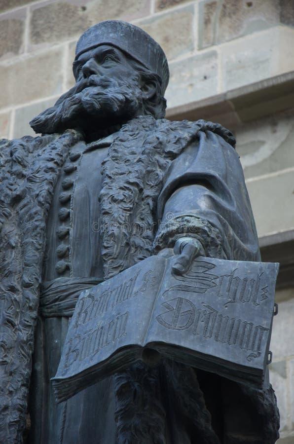 约翰尼斯Honterus雕象,黑人教会,布拉索夫 库存照片