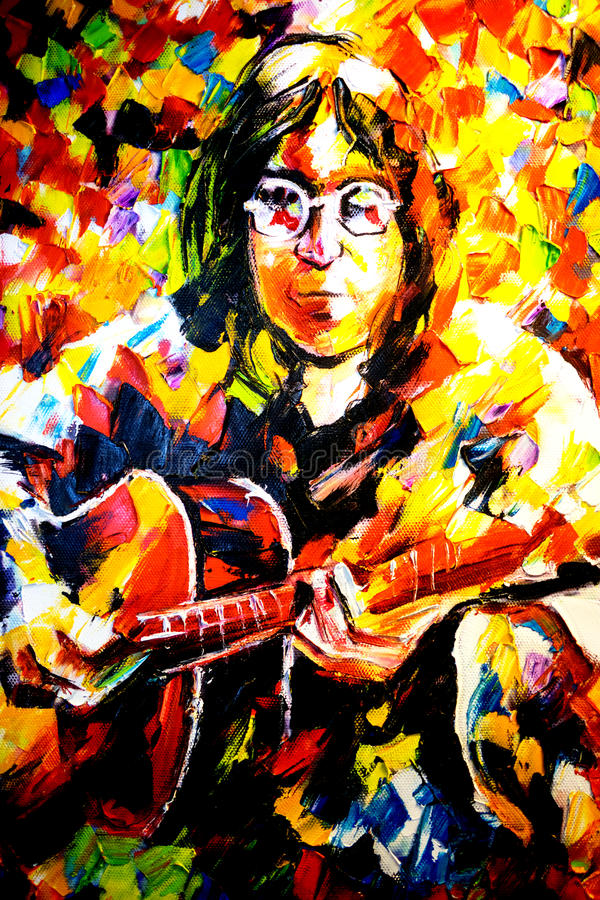 约翰・列侬在帆布的油画列昂尼德Afremov 库存图片