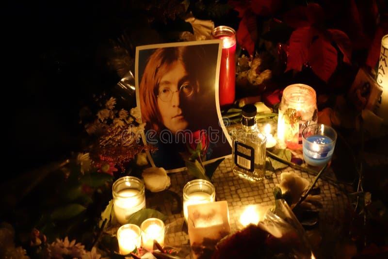 约翰・列侬的逝世第34周年在草莓的调遣 库存照片