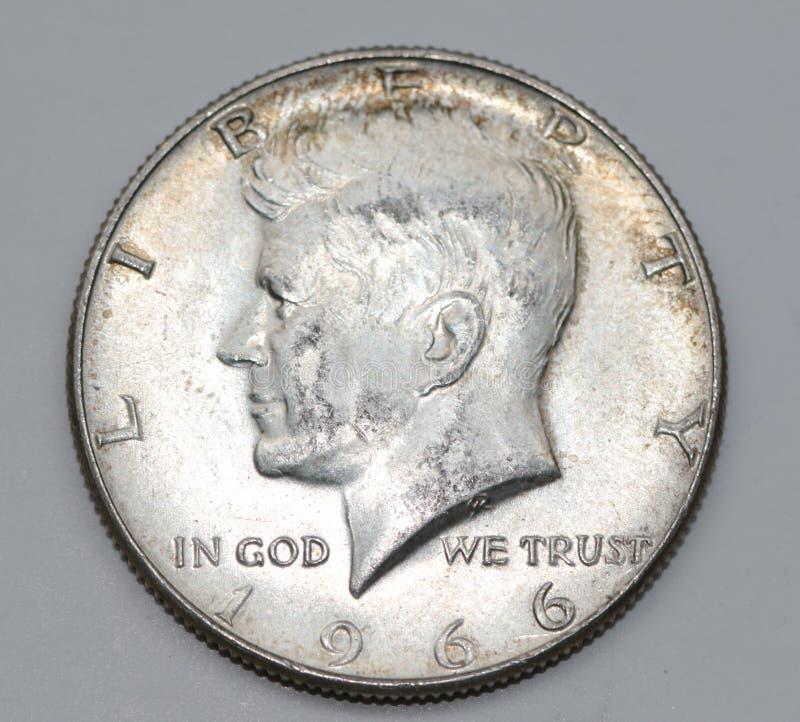 1966年约翰・菲茨杰拉德・肯尼迪半元 库存图片