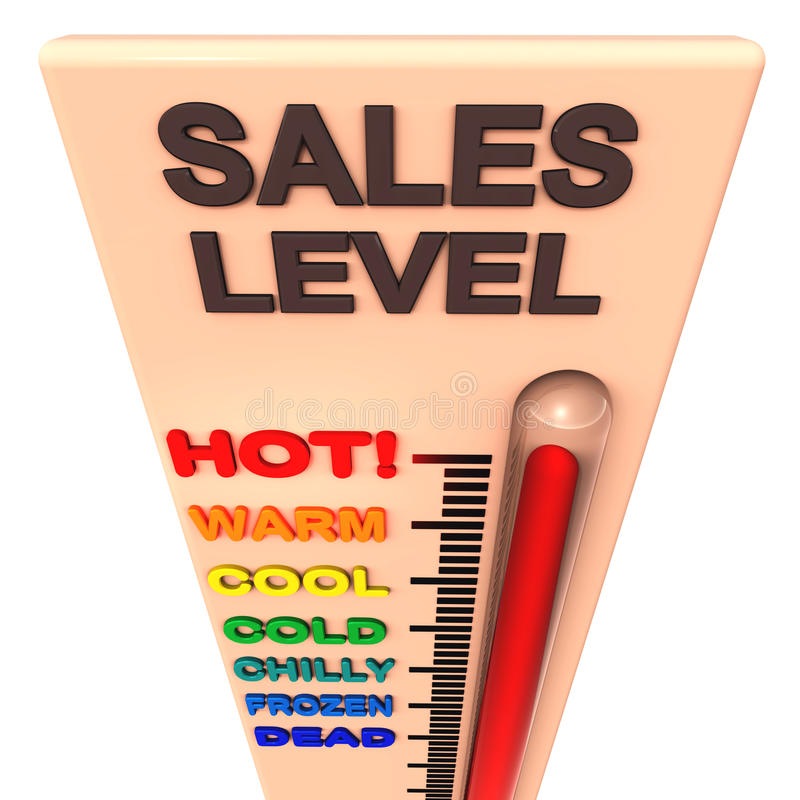 级别销售额温度计 皇族释放例证