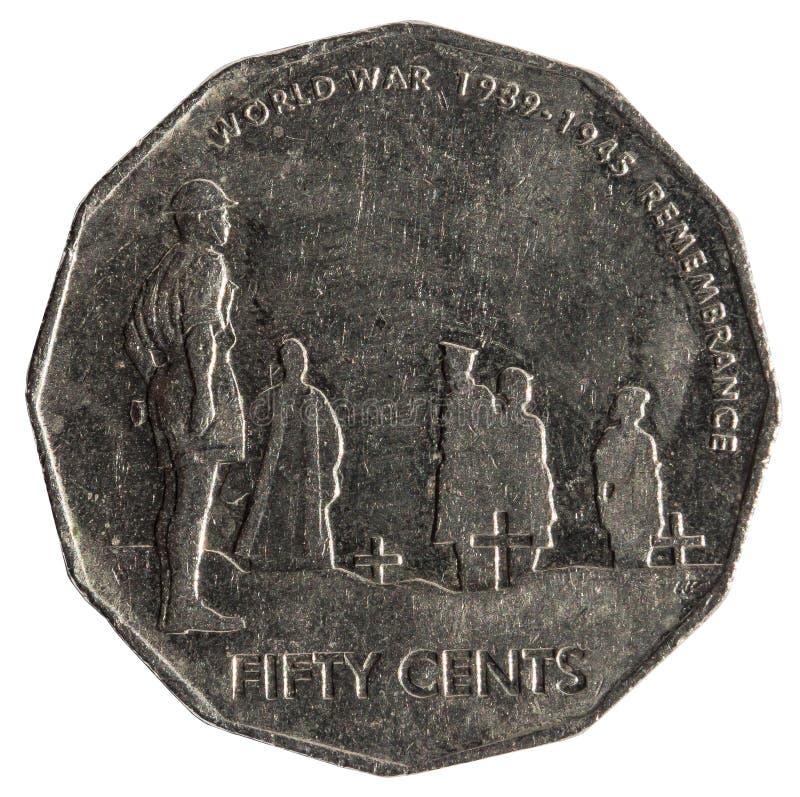 纪念世界大战2战争纪念建筑汇集的末端的第60周年的50分澳大利亚硬币 免版税库存照片