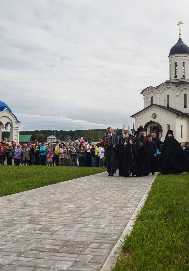 以纪念俄罗斯的解放的536 Th周年的开幕活动从蒙古鞑靼人的轭的在卡卢加州地区 免版税图库摄影