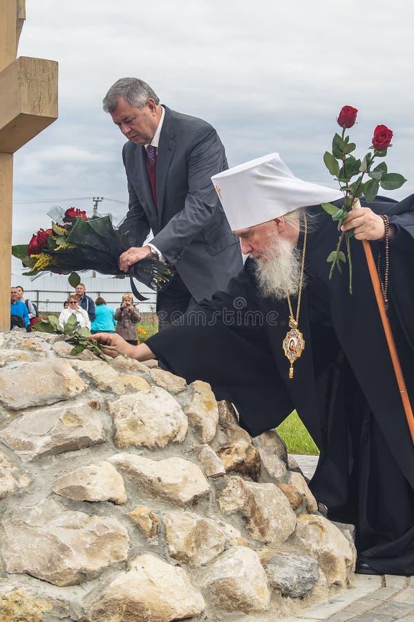 以纪念俄罗斯的解放的536 Th周年的开幕活动从蒙古鞑靼人的轭的在卡卢加州地区 库存图片