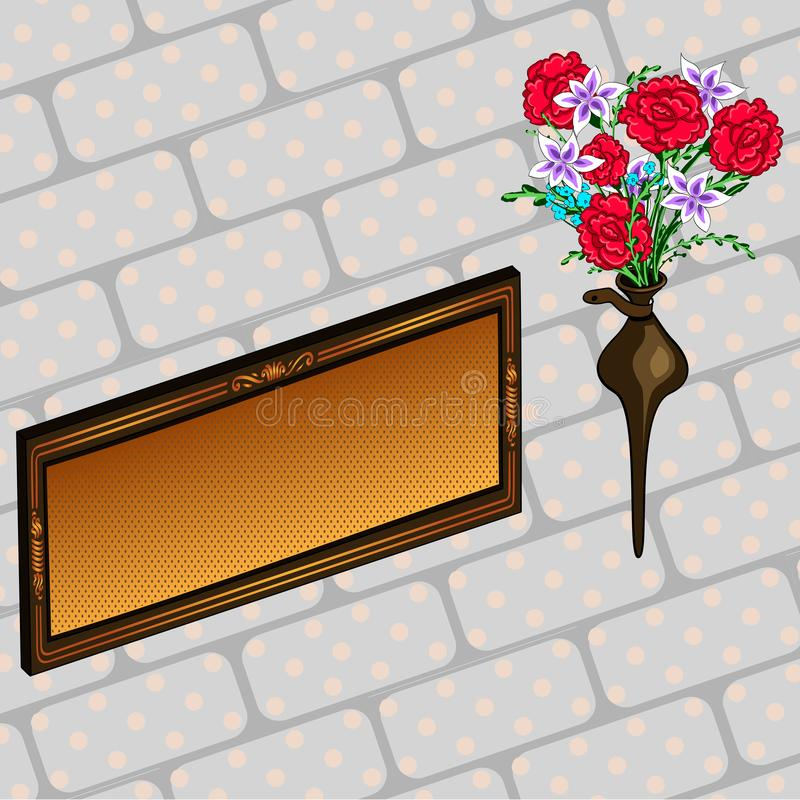 纪念匾和花黄铜光栅公墓 库存例证