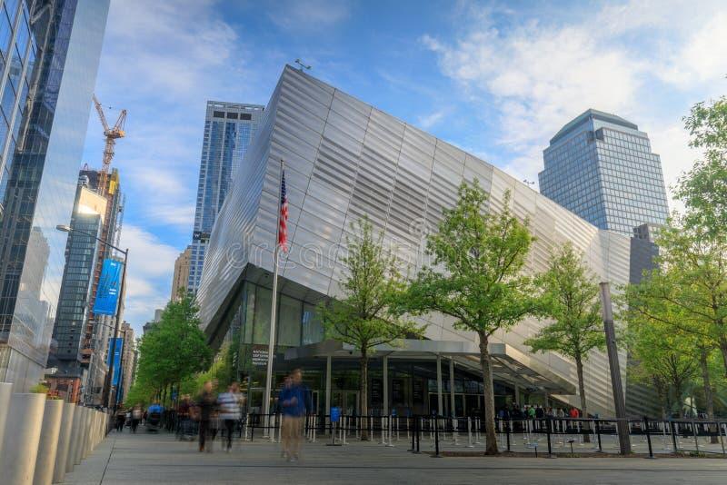 9/11纪念博物馆大厦在更低的曼哈顿 图库摄影