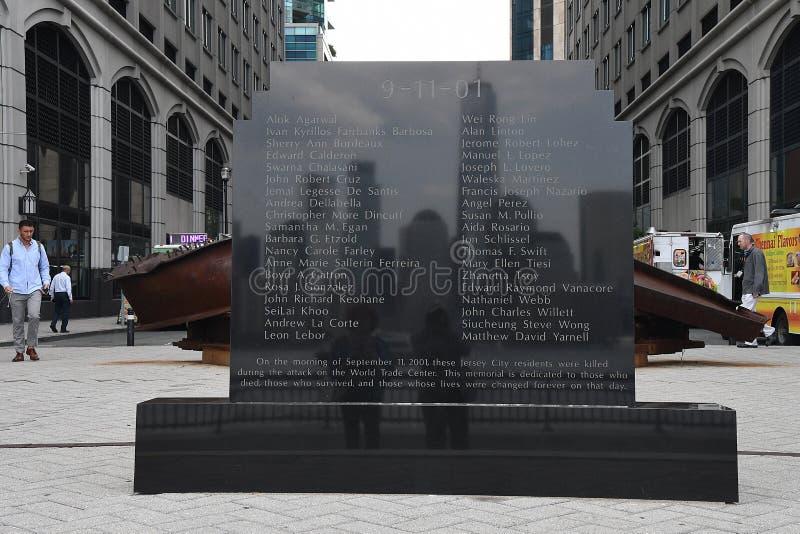 9/11/2001纪念品在泽西市新的JERSEN 免版税库存照片