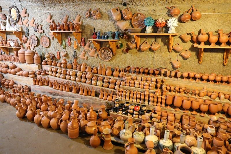 纪念品店在卡帕多细亚,土耳其 免版税库存图片