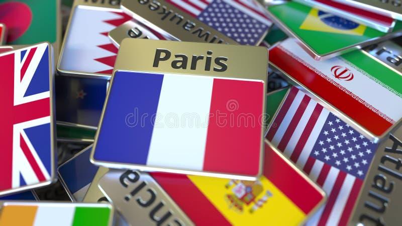 纪念品磁铁或徽章与巴黎文本和国旗在不同那些中 前往法国概念性3D 向量例证