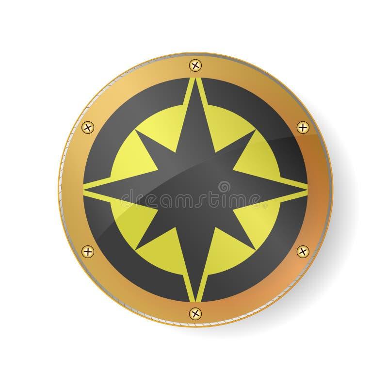 纪念品-在金黄框架的罗盘标志 设计最佳的神圣的几何 北部,南,东西方在白色ba隔绝了 皇族释放例证
