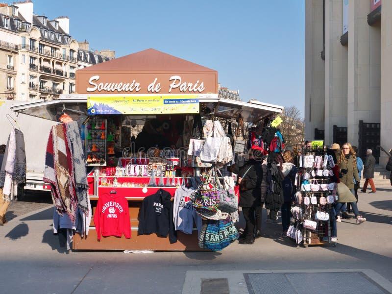 纪念品Kiosk Palais de Chaillot Trocadero巴黎法国 免版税库存图片