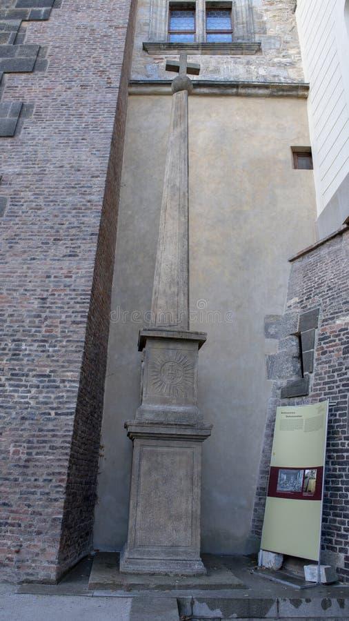 纪念方尖碑威廉密友,布拉格城堡,捷克的南庭院Slavata  库存照片