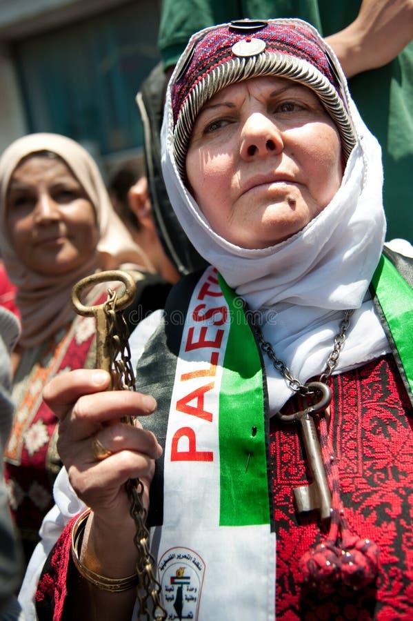 纪念日nakba巴勒斯坦人召集 免版税库存照片