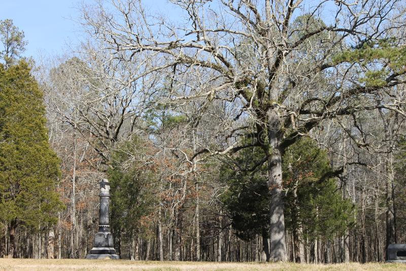 纪念碑和石头在军事公园chickamauga的 库存图片