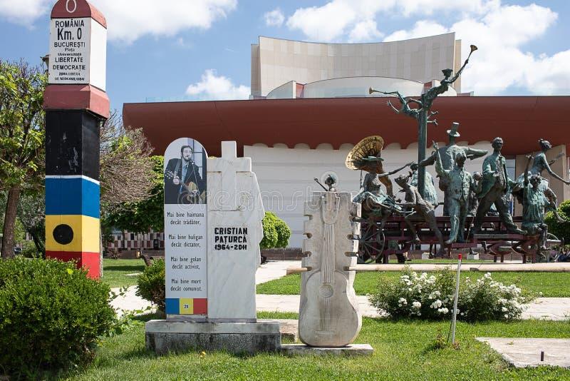 纪念碑在大学广场布加勒斯特 免版税库存图片