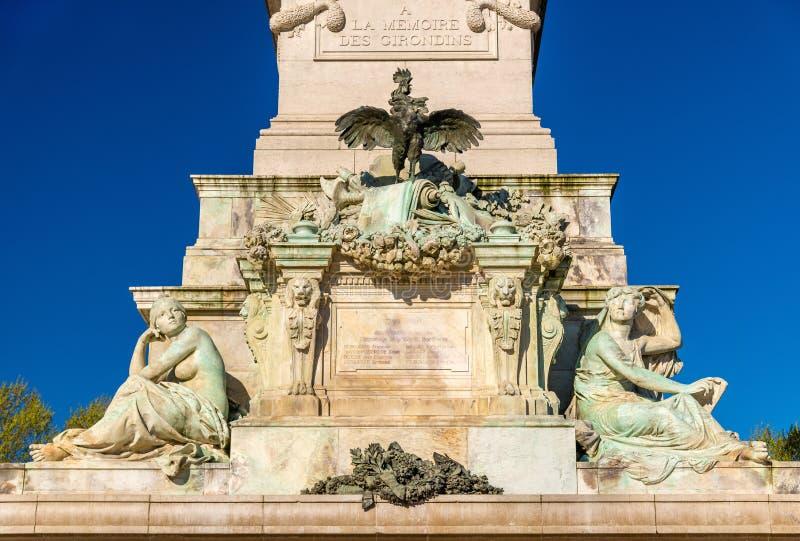 纪念碑在Quinconces广场的辅助Girondins在红葡萄酒-法国 库存图片