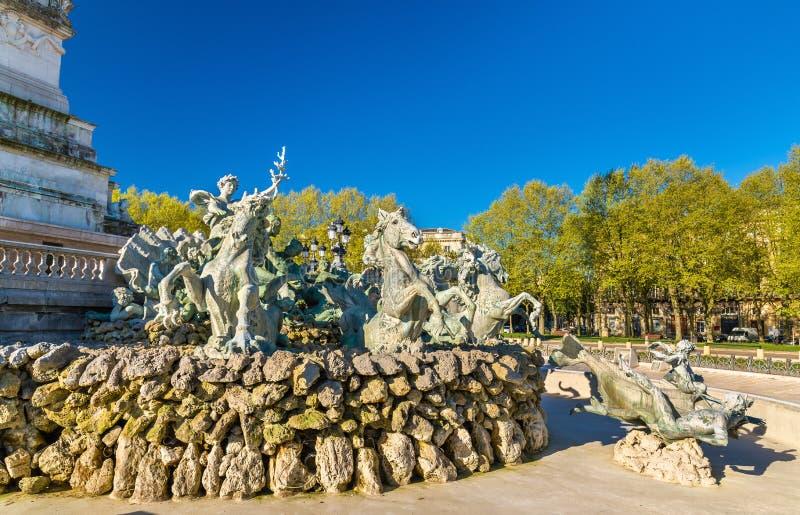 纪念碑在Quinconces广场的辅助Girondins在红葡萄酒-法国 免版税库存照片