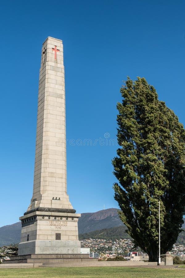 纪念碑战争纪念建筑特写镜头在霍巴特,澳大利亚 库存照片
