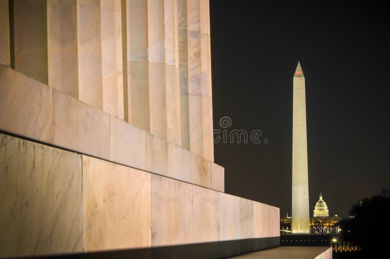 纪念碑晚上华盛顿 库存照片