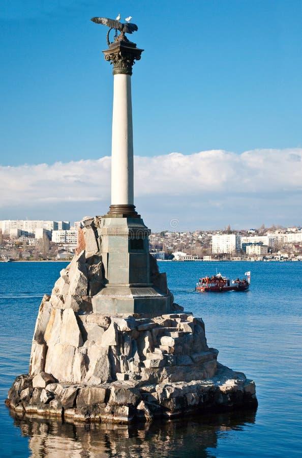 纪念碑被破坏的塞瓦斯托波尔船 免版税库存图片