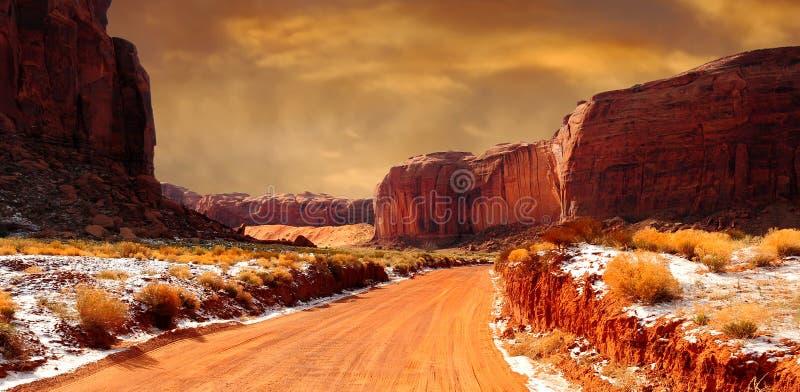 纪念碑谷冬天 库存图片