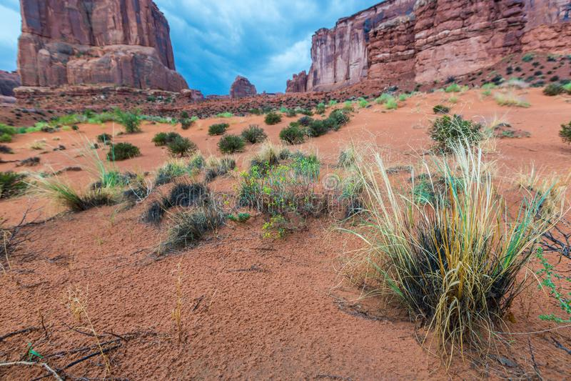 纪念碑谷,亚利桑那,透视风景在秋天 免版税库存图片