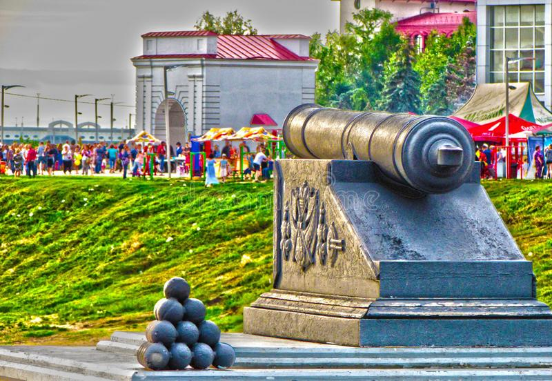纪念碑鄂木斯克堡垒和城市的创建者 库存照片