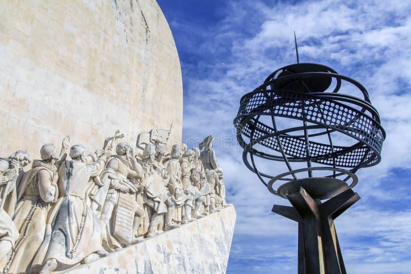 纪念碑,里斯本,葡萄牙的片段对发现的 免版税库存照片