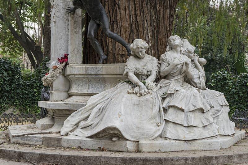 纪念碑致力诗人古斯塔沃阿道福Bcquer在塞维利亚 免版税库存照片