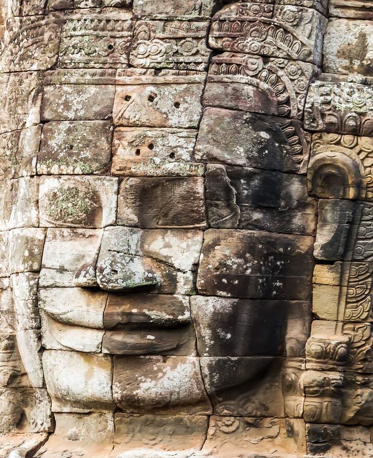 纪念碑Bayon寺庙,吴哥,柬埔寨 库存图片