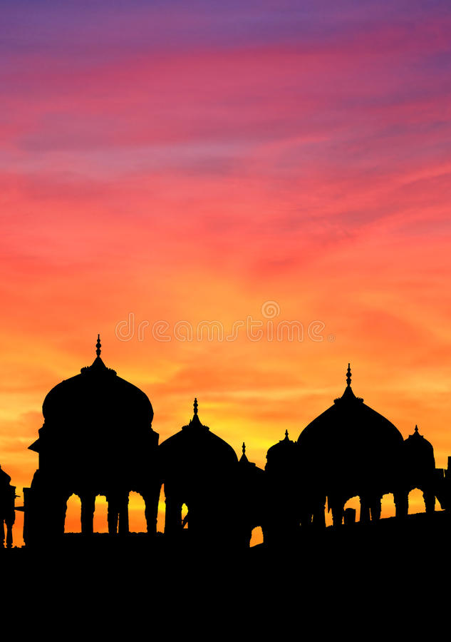 纪念碑jaisalmer日落 库存图片