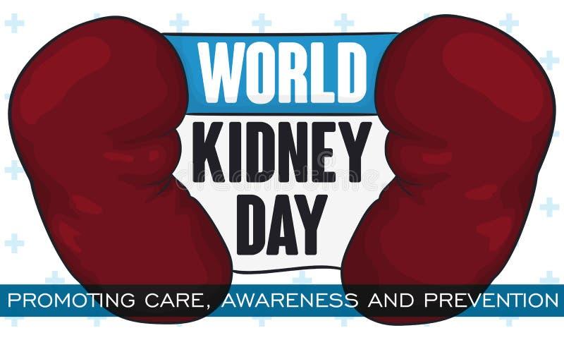 纪念设计为世界肾脏天,促进预防和了悟,传染媒介例证 库存例证