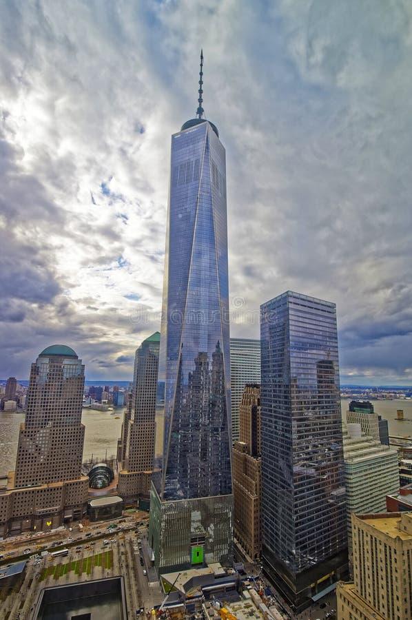 纪念鸟瞰图全国的9月11日和自由塔 免版税库存图片