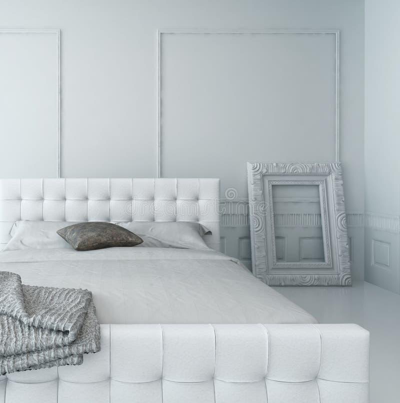 纯净的白色豪华卧室内部 皇族释放例证
