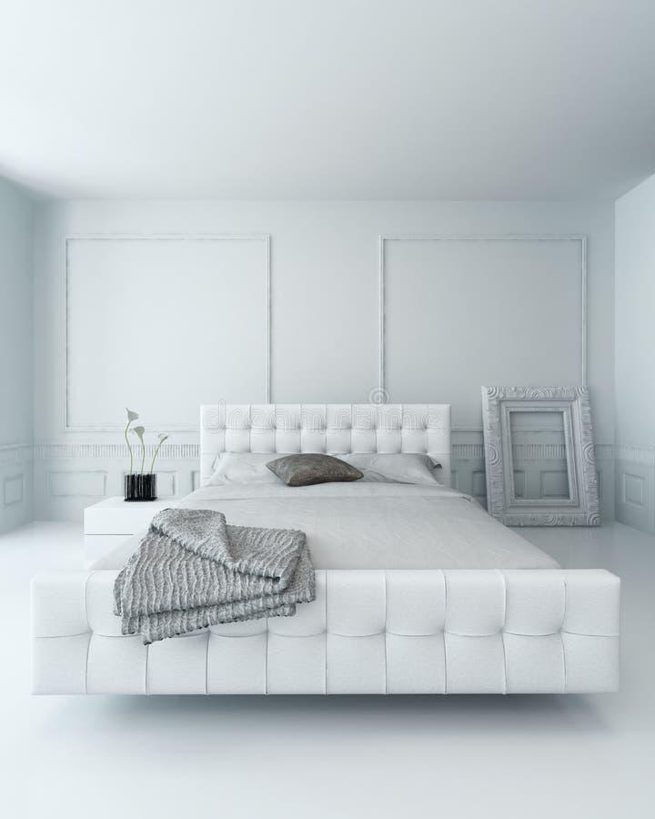 纯净的白色豪华卧室内部 向量例证