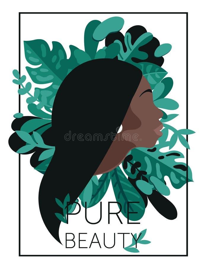 纯净的秀丽的海报与非裔美国人的妇女` s外形和热带叶子 向量例证